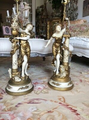 PAIR FRENCH METAL Antique vtg L&F Moreau Lamps Barbola Roses Goddess Lamps