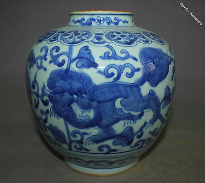 19cm Collect Chinese Old Blue and White Porcelain Handmade Lion Beast Pot Jar