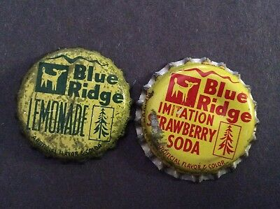 2 Different   Blue Ridge   Soda  Bottle Caps  - used   -  Cork Lined