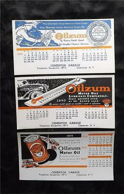 3 OILZUM MOTOR OIL Advertising Cards/Blotters 1940's  Free Shipping