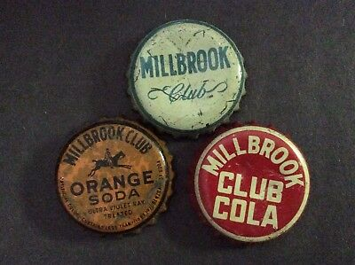 3  Different   Millbrook    Soda  Bottle Caps  - used   -  Cork Lined