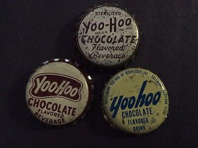 3  Different  Yoo - Hoo    Soda  Bottle Caps  - used   -  Cork Lined