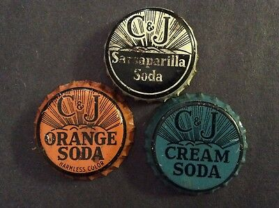 3  Different   C  & J      Soda  Bottle Caps  - used   -  Cork Lined