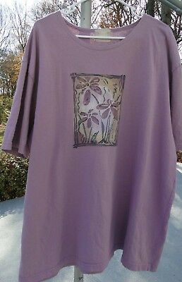 Vintage Blue Fish artsy purple shirt sz 1 by Jennifer Barclay women L or XL ART