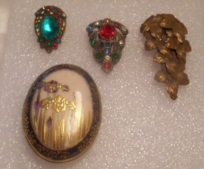 Lot of Four Vintage Deco Style Dress Fur Clip Brooches Pins