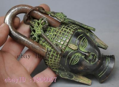 Antique Nepal Chinese Old Vintage Big Solid Brass God Budha Pad Lock 2 Keys