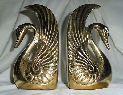"""Pair of Vintage Brass Swan Bookends 6"""" Over 2Ibs"""