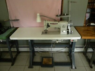 Consew 206RB - 5 Industrial Sewing Machine With Stand & Motor, & two Manuals