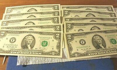 Lot Of 10..two Dollar Bills In Numerical Sequence. Clean And Crisp..uncirculated