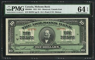 Canada Molsons Bank #490-40-04 $10 1922 Pmg 64 Epq Very Choice Unc Rare Wlm4659