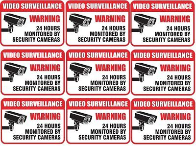 9x VIDEO SURVEILLANCE WARNING 24 HOURS MONITORED BY SECURITY CAMERAS Sign Decal