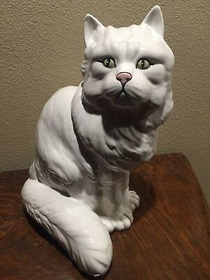 Vintage Porcelain Cat Statue From Italy