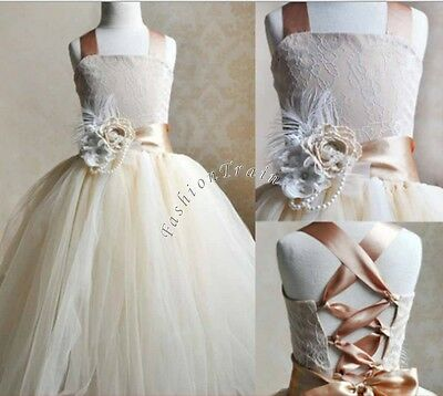 UK Pageant Princess Flower Girls Wedding Formal Lace Bridesmaid Party Dress NEW