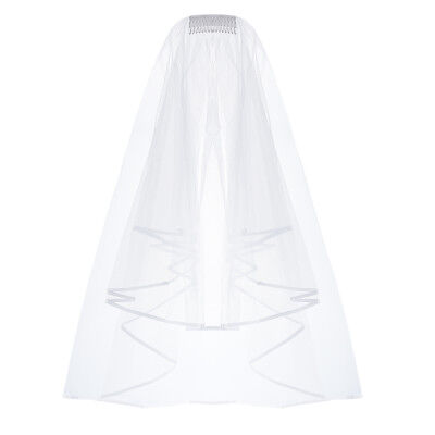 Cascade Bridal Wedding Veil Inserted Tulle Veils with Comb and Ribbon Edge US