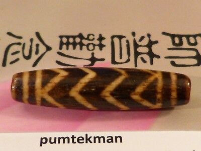 "ANCIENT PUMTEK PYU  BEAD ''4 ZIG ZAG TIGER"" PATTERN TUBE 31.6 BY 8 MM pumtekman"
