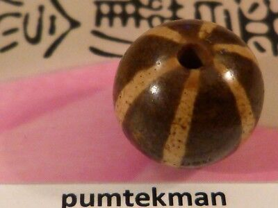 Large Ancient Pumtek Pyu 6 Stripe Round Bead 12.8 Mm  Deep Patina Contrast