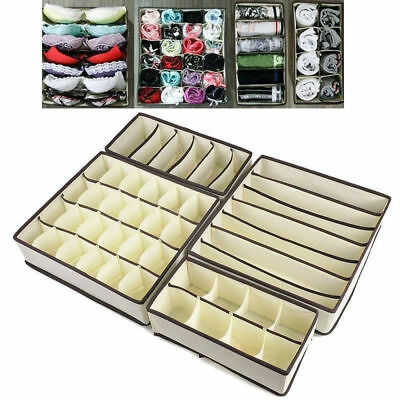 4X Organizer Storage Box Tie Bra Socks Underwear Drawer Cosmetic Divider Tools