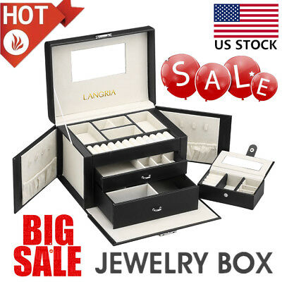Ring Watch Earring Display Case Necklace Jewelry Storage Box Lockable Mirror Top