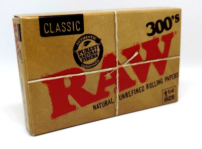 Raw Rolling Papers - Classic 300's - 1 1/4 Size - Natural Unrefined - 300 Papers