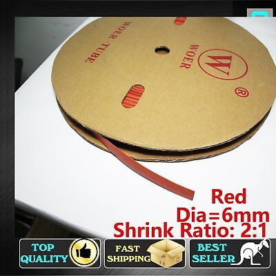 8M Red Heat Shrink Tubing Sleeving 6mm Electric Wire Insulation Waterproof