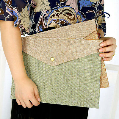 A4 A5 Imitation Linen Canvas Office Felt File Folder Data Paper Holder Organizer