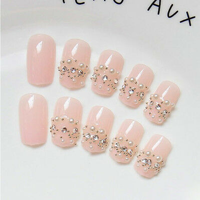 24 Pcs Set Bling Bling Drill Non-Glue Press-On Pink Nail Tips Fake Nails*