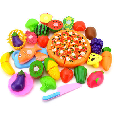 Kids Fruit Vegetable Pizza Toys Pretend Role Play Kitchen Cutting Set Child Gift