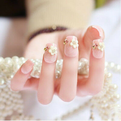 24 Pcs Pink White Flowers Drill Non-Glue Press-On Nail Tips Fake Nails*