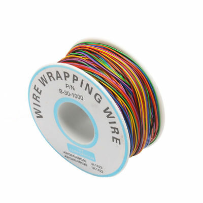 One Roll 8 Colors 30AWG Wire Wrapping Wire, Tinned Copper Solid, PVC insulation