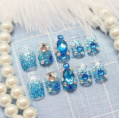 24 Pcs Blue Bling Bling Drill Non-Glue Press-On Nail Tips Fake Nails*