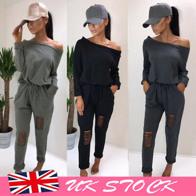 Casual Women Off Shoulder Long Sleeve Jumpsuit Rip Knee Lounge Wear Tracksuit UK