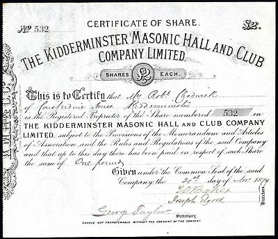 Kidderminster Masonic Hall & Club Co. Ltd., £2 share, 1879
