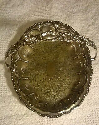ANTIQUE Silver Plated Footed Basket with Swing Handle