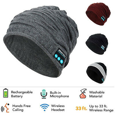 2018 Bluetooth Music Warm Beanie Hat Wireless Cap Headset Headphone Speaker Mic