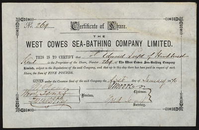 West Cowes Sea-Bathing Co. Ltd., £5 shares, 1870, Isle of Wight