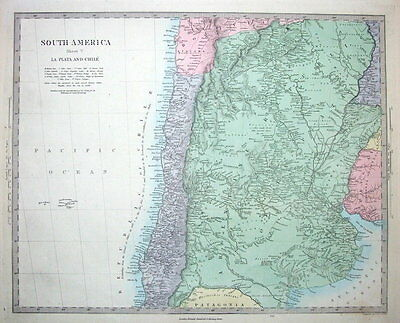 SOUTH AMERICA, CHILE, ARGENTINA  Stanford original antique map c1850