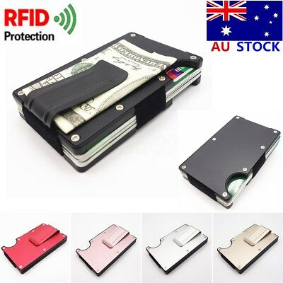 AU Slim RFID Blocking Metal Wallet Minimalist Wallets Cards Holder Money Clip