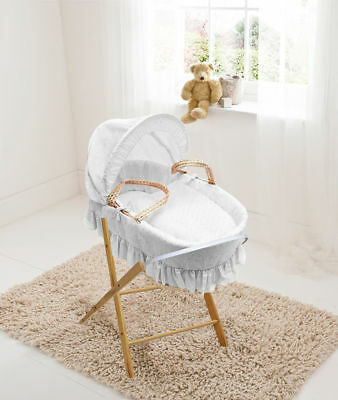 Luxury British Made Palm Moses Basket Broderie Anglaise Dressing Inc stand