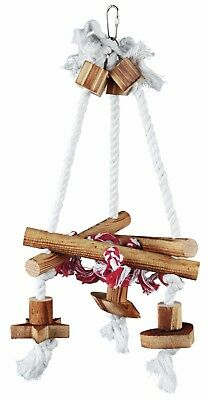 Triangular Bird Swing on a Rope with Flamed Wood for Budgies Canaries etc