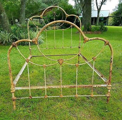 Antique cast iron and brass bed frame full size cottage chic farmhouse Vintage