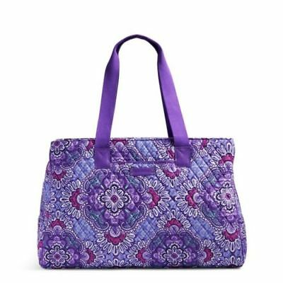 NEW Vera Bradley Triple Compartment Travel Bag Lilac Tapestry Carry On Weekender