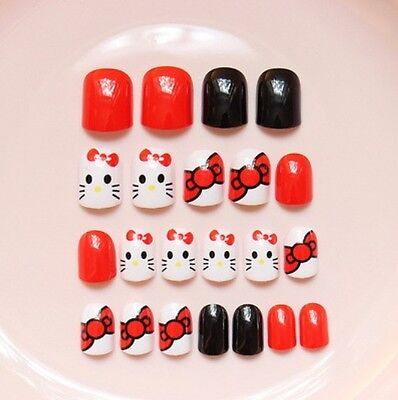 CP-147 Japanese Style 24 Pcs Set Cartoon Nail Tips Press-On Fake Nails*