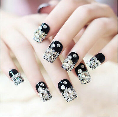 24 Pcs Set Black Bling Bling Drill Non-Glue Press-On Nail Tips Fake Nails*