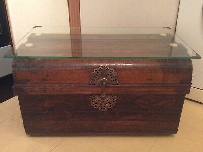 Antique Metal Wooden Effect Trunk/Chest Glass Top (Finished expertly)