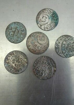 LIVONIA LITHUANIA LATVIA 1600'S (ND) 1 SCHILLING SILVER lot of 6