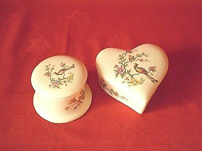 Two  Axe Vale Devon Torquay Torbay Pottery Lidded Trinket / Pin Dishes