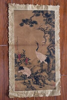 Large Beautiful Old Chinese Paper Painting Cranes Marks