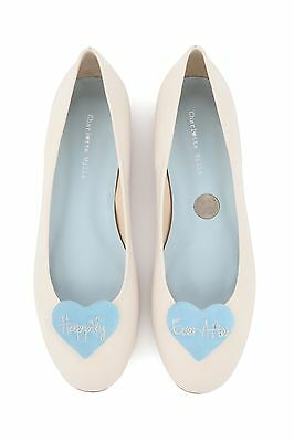 Charlotte Mills Anabel Wedding Shoes Size 3 Flats Blue Heart
