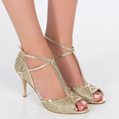 Charlotte Mills Wedding Shoes Betty Gold Size 4