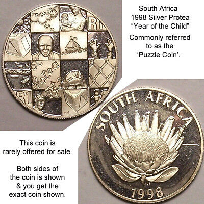 1998 South Africa protea 1 Rand Silver Proof  year of the child  puzzle coin